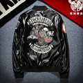 XS~3X L! 2017 Men's clothing Skull ma-1 pilot jacket lovers motorcycle leather baseball uniform outerwear frock singer costumes