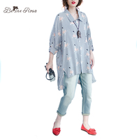 BelineRosa 2017 Plus Size Blouse Summer Women Fashion Striped Girls Printing Batwing Blouse For Women Fit