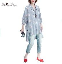 BelineRosa 2017 Плюс Размер Блузка Лето Женщины Моды Полосатый Девушки Печати Batwing Блузка для Женщин Fit 5XL 6XL HS000281