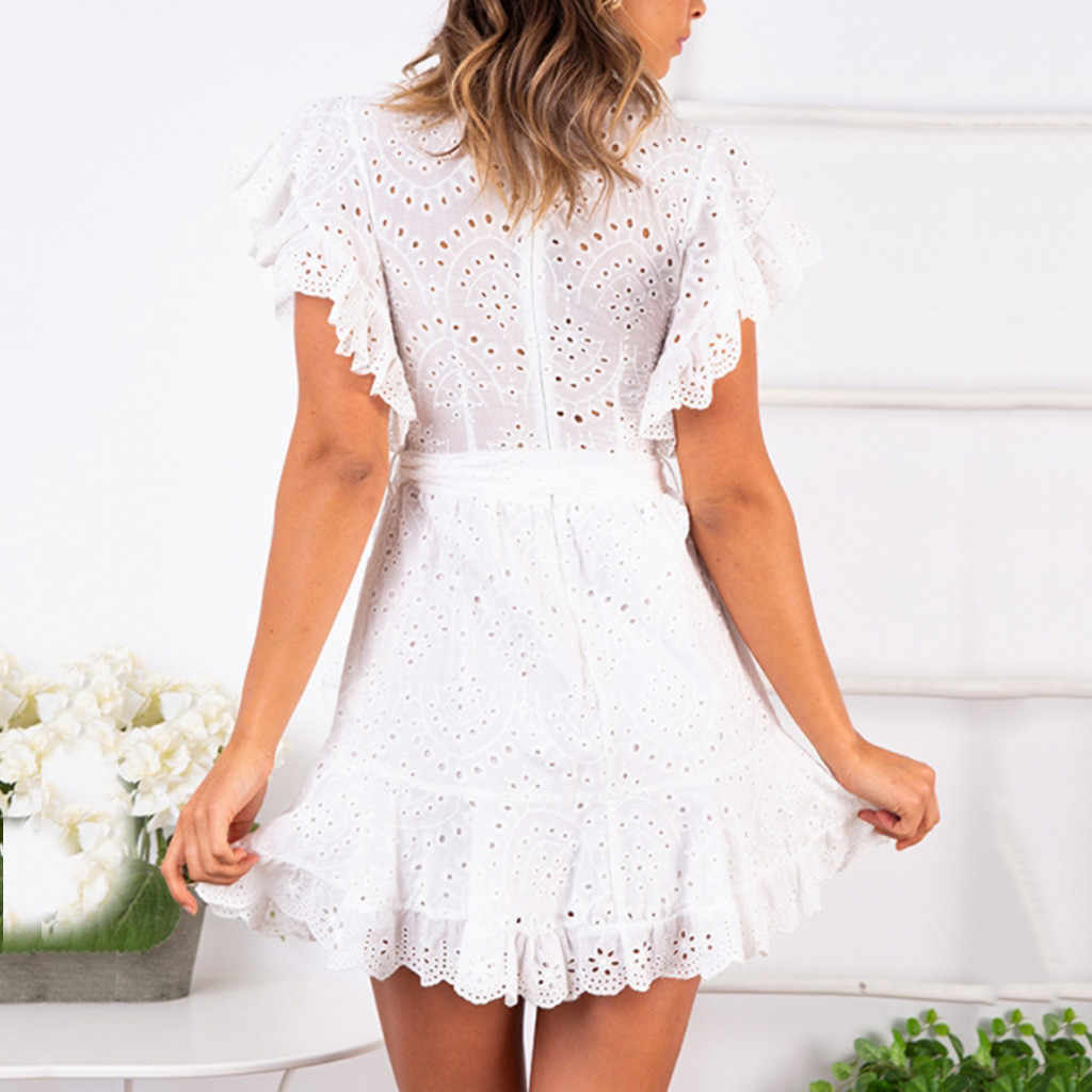 2019 Fashion Hot Item Ruffled Zipper Irregular Sleeveless Bow Tie Round Neck Lace Dress Robe à nœud papillon irrgulier 40*