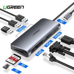 Ugreen USB محور C محور إلى USB متعدد المنافذ 3.0 محول HDMI حوض ل ماك بوك برو اكسسوارات USB-C نوع C 3.1 الفاصل 3 ميناء USB C محور