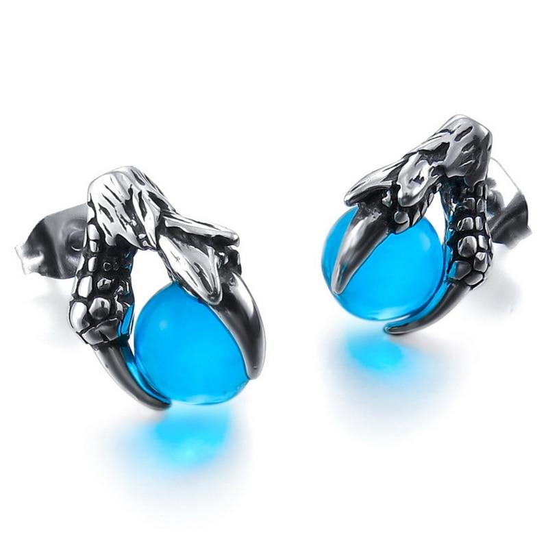 06c522902c2e Hombres de acero inoxidable dragón Pendientes de broche cristal plata Azul  Rojo bola dragón garra vintage envío libre