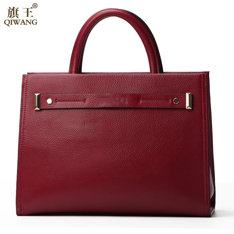 цена Qiwang Burgundy Box Bag Real leather Women handbags 2017 New Office Female Fashion Style Tote Bag High Quality Belt Bag онлайн в 2017 году
