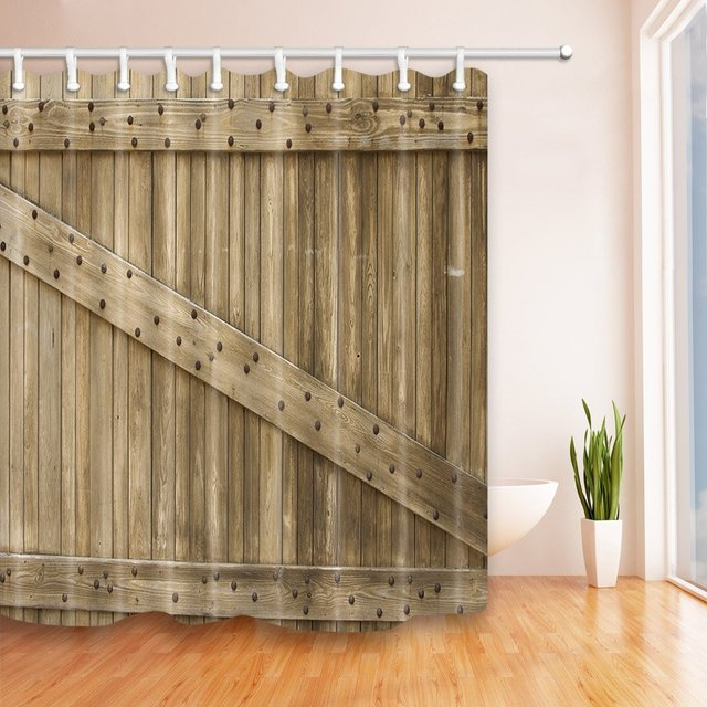 Rustic Country Barn Wood Old Wooden Door Shower Curtain 69X70 inches ...
