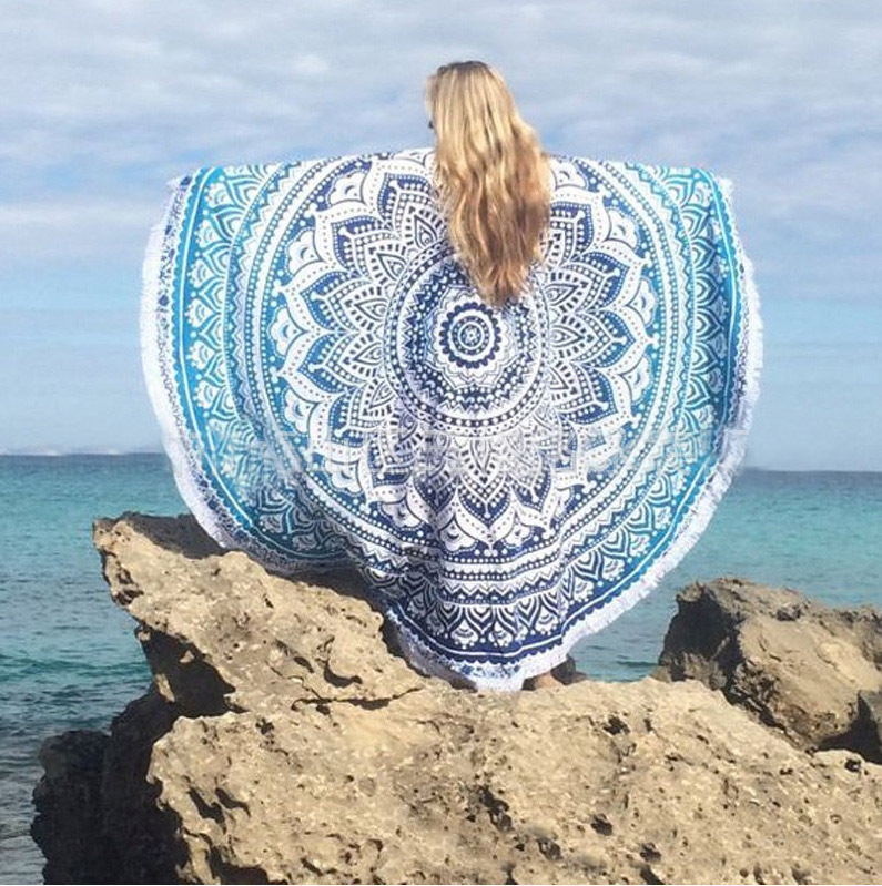 Round Mandala Beach Towel Tassel Fringing Beach Throw Round Mat Table Cloth  Wall Tapestries Beach Towel Round In Bath Towels From Home U0026 Garden On ...