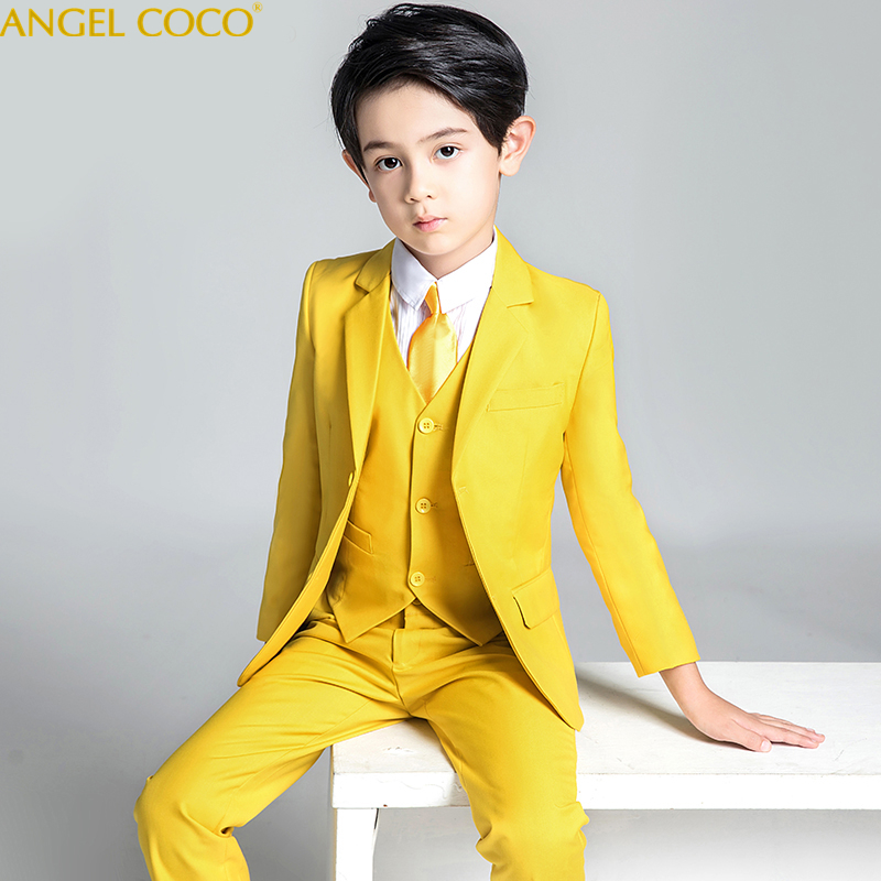 5Piece Suit Set Pants Vest Shirt Same Color Tie Kids Clothes Boys Suit Blazer Christmas Costume Garcon Boys Suits For Weddings недорго, оригинальная цена