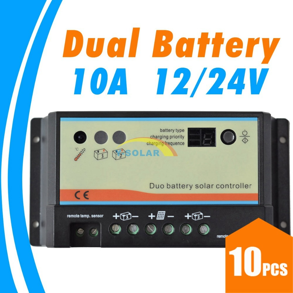 10pcs/lots 10A daul battery Solar Charge Controller duo-battery charge controller 12V 24V 10pcs 12v 24v red