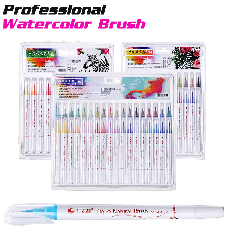 STA 12/24/36 Colors Watercolor Brush Pen Soft Tip Painting Sets Marker Pens Drawing Coloring Waterbrush Art Supplies Dibujo