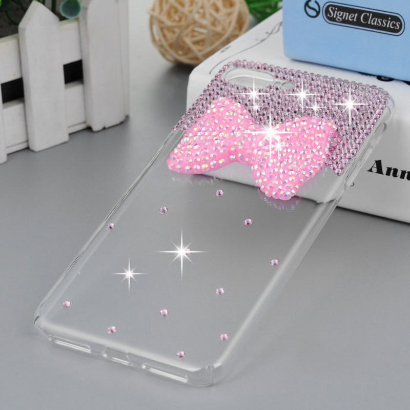 Glitter Crystal Diamond Transparent clear Pink diamond bow-knot PC Case Coque for BQ Aquaris E 4.5 phone case