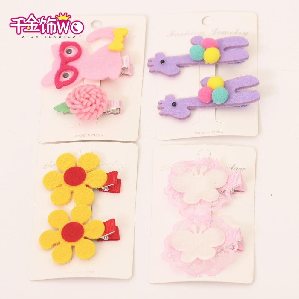 2pcs Lovely Kids Rubber Headbands Soft Fabric Pink Cat Girls Children Hair accessories Hair Elastic Hair Band headwear T-1