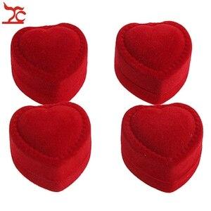 Image 2 - Wholesale 24Pcs Romantic Velvet Birthday engagement Ring Box Red Heart Shaped Valentines Day Ring Gift Box Velvet Ring Box