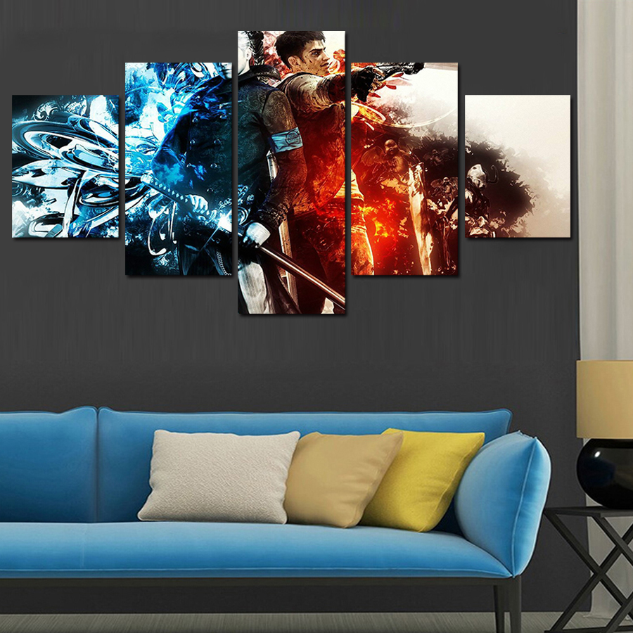 Scarface money power respect vinyl wall decal for home decore - Hot Sell 5 Panel Cuadros Home Decor Modern Printed Movie Scarface Painting Canvas Wall Art Home