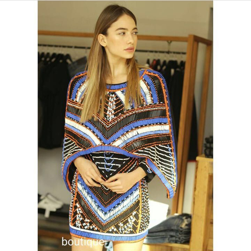 HIGH QUALITY Newest Fashion BAROCCO Unique Runway Dress Women s Batwing Sleeve