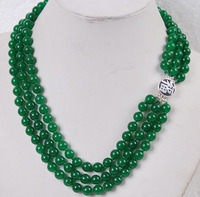 JD65 DE76 FREE Shipping Charming 3Rows 8mm Natural Green Jade Gemstones Jewelry Necklace Silver
