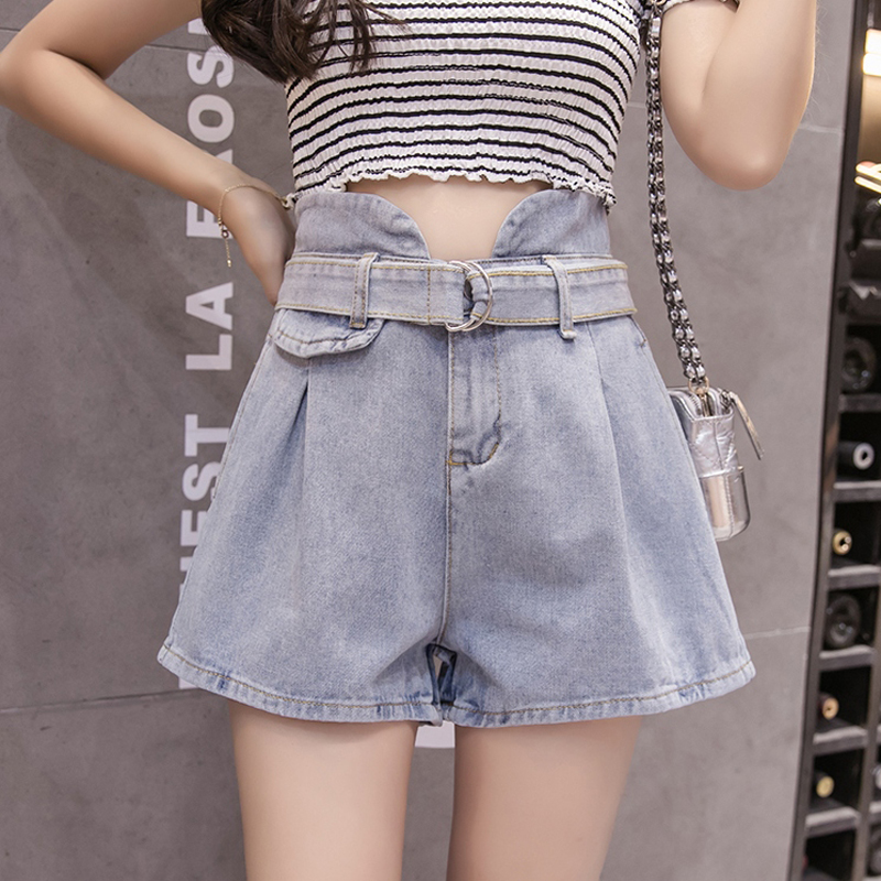 Women Solid Zipper Fly Booty Shorts With Belt Summer High Waist Pockets Denim Shorts Korean Fashion Wide Leg Short Jeans Mujer