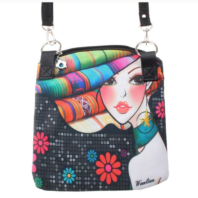 b94e785ea533 Women Messenger Bags Vintage Canvas Printing Small Satchel Shoulder  European Style Girls Handbag Lady Crossbody Bag Black 19