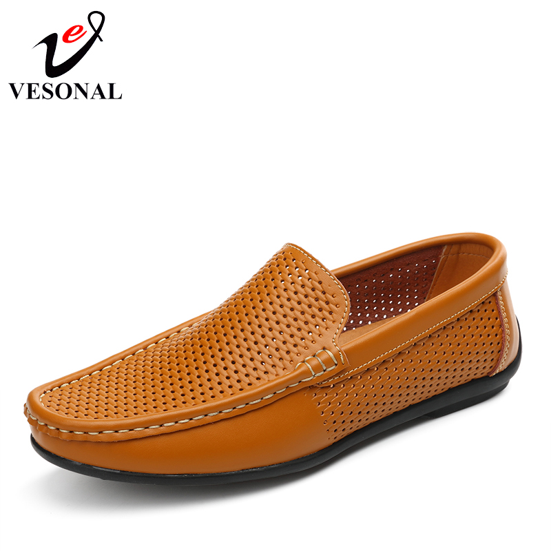 VESONAL Summer Style Moccasins Boat Male Loafers shoes For Men Hole Breathable Light Soft Genuine Leather Slip On Flats Footwear clax men summer shoes slip on 2017 breathable male flats loafers fisherman shoe casual white boat footwear leather sandals