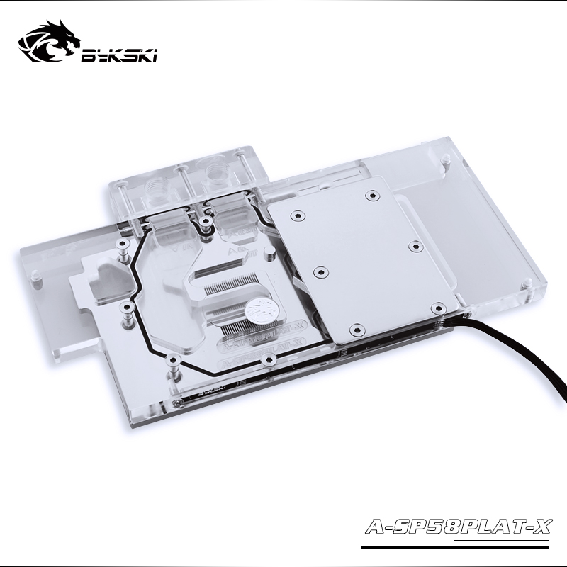 BYKSKI Full Cover Graphics Card Block use for Sapphire Nitro+ Radeon <font><b>RX</b></font> <font><b>580</b></font> 590 8GD5 8GB <font><b>GDDR5</b></font> (11265-01-20G) Copper Radiator image