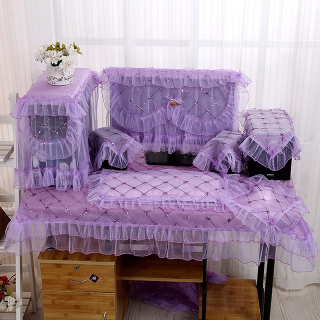 Desktop Computer Cover Sets Purple Lace Embroidery Dust Proof Desk  Decoration With Lace Table Cover Audio