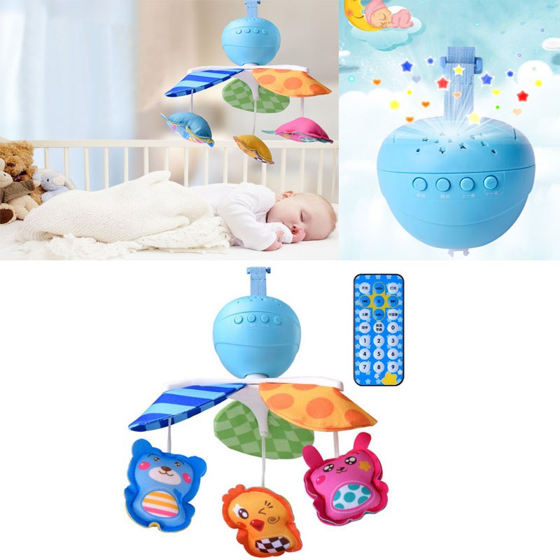 New 0-3 Year Old Music Rotation Projection To Appease Early Learning Remote Control Bed Baby Carriage Bell Baby Rattles Toys