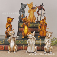American country music home cat resin ornaments wedding gift ideas three cats band den living room furnishings