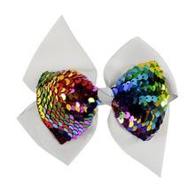 European Style Ribbon Bow Headband Girls Glitter Sequin Barrettes for Baby Children