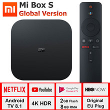 Versão global xiaomi mi caixa de tv s 4k hdr android tv 8.1hd 2.4g 5.8g wifi google elenco netflix conjunto caixa superior 4 media player