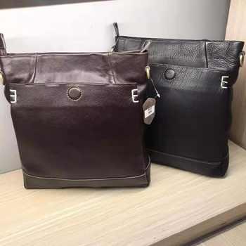 Handmade leather men\'s shoulder messenger bag first layer cowhide retro vertical men\'s bag casual tide
