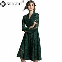 Simgent Vestitini 도나 여성 긴 소매 V 넥 벨티드 어두운 녹색 레이스 스케이팅 드레스 여성 Vestidos