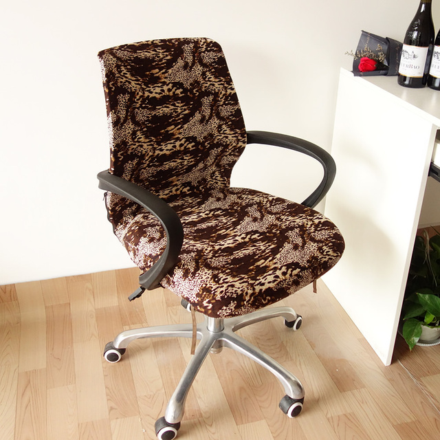 Lift Chair Covers Wheel Ramps Printing Flower Leopard Computer Office Cover Removable Arm Slipcover Stretch Rotating