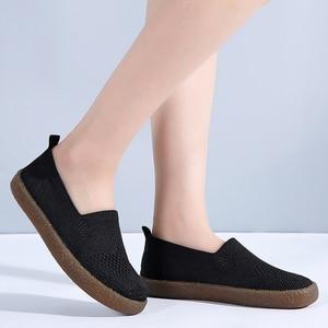 Image 3 - STQ 2020 automne femmes baskets chaussures femmes respirant maille plat baskets chaussures ballerines dames sans lacet mocassins chaussures 3399