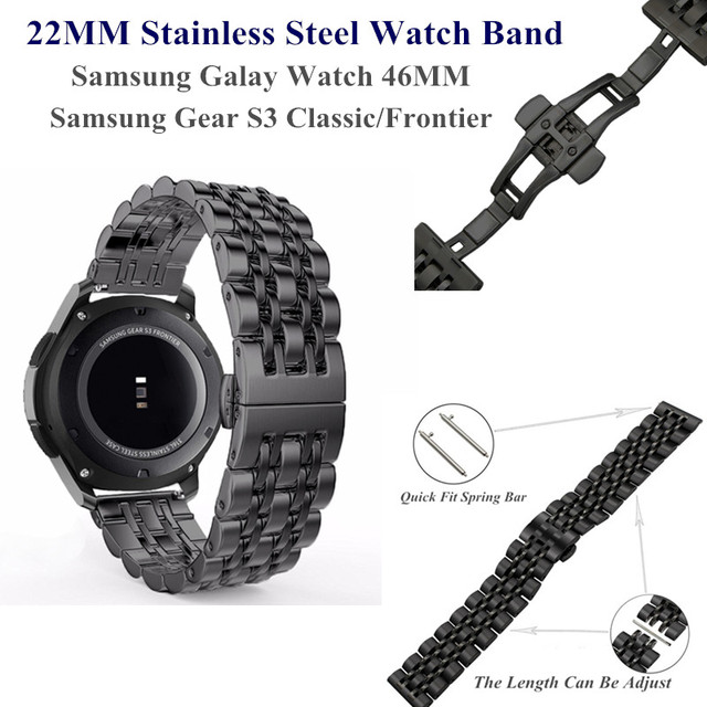 22MM Stainless Steel Metal Watch Band for Samsung Galaxy Watch 46MM Wristband Re