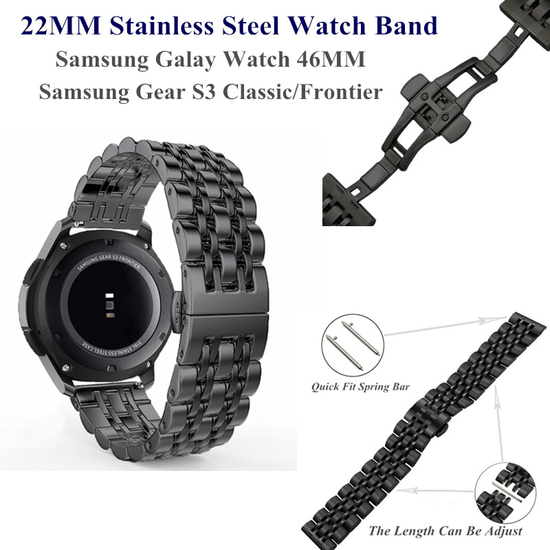 22MM Stainless Steel Metal Watch Band for <font><b>Samsung</b></font> Galaxy Watch <font><b>46MM</b></font> Wristband Replacement for Gear S3 Classic/Frontier Bracelet image