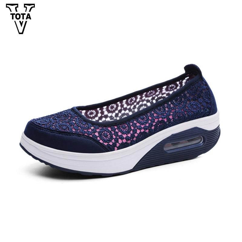 Vtota Air Mesh Summer Women Shoes Platform Loafers Ladies