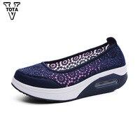 VTOTA Air Mesh Summer Women Shoes Platform Loafers Ladies Walking Women Shoes Wedges Slip On Casual