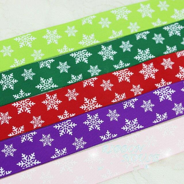 """25 מ""""מ 2 מטרים שלג מודפס סאטן סרטי חג המולד חדש שנה דקורטיבי מתנת אריזה מלאכות אדום ירוק ורוד סגול"""