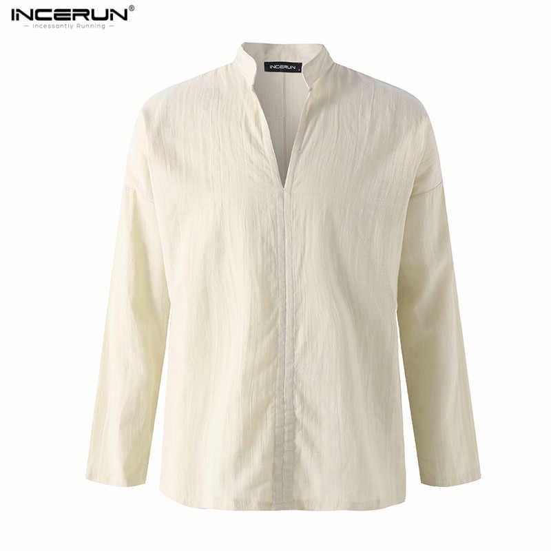 INCERUN/мужские повседневные рубашки с v-образным вырезом, однотонные мужские рубашки с длинными рукавами, новинка 2019 года, горячая Распродажа, свободная винтажная рубашка в китайском стиле