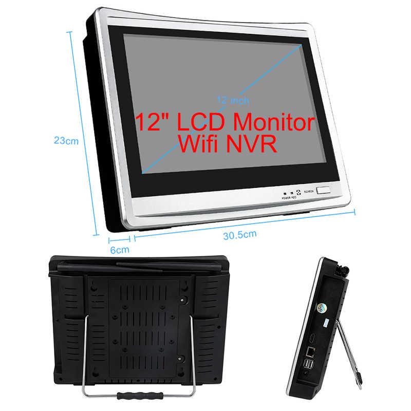 """Techage Беспроводная система видеонаблюдения 4CH 1080P 12 """"lcd NVR 2.0MP наружная Аудио CCTV Wifi камера система видеонаблюдения Комплект"""