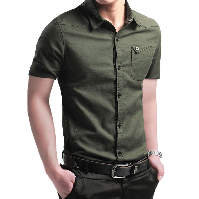 Mens Short Sleeve Solid Dress Shirt With Left Chest Pocket High-quality Male Casual Regular Tops Button Shirts