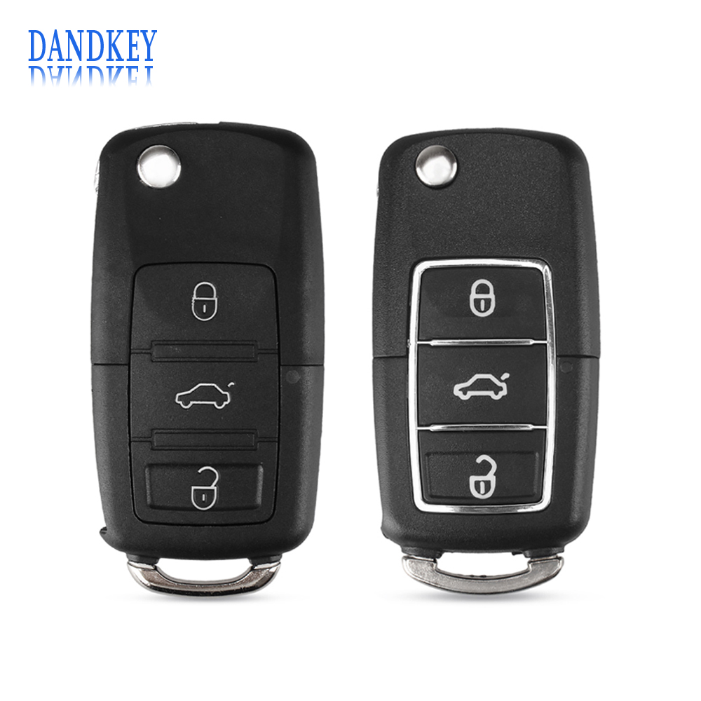 Dandkey 3 Buttons Flip Key Shell For Volkswagen Vw Jetta Golf Passat Beetle Polo Bora Fob Folding Remote Key Case With logo(China)