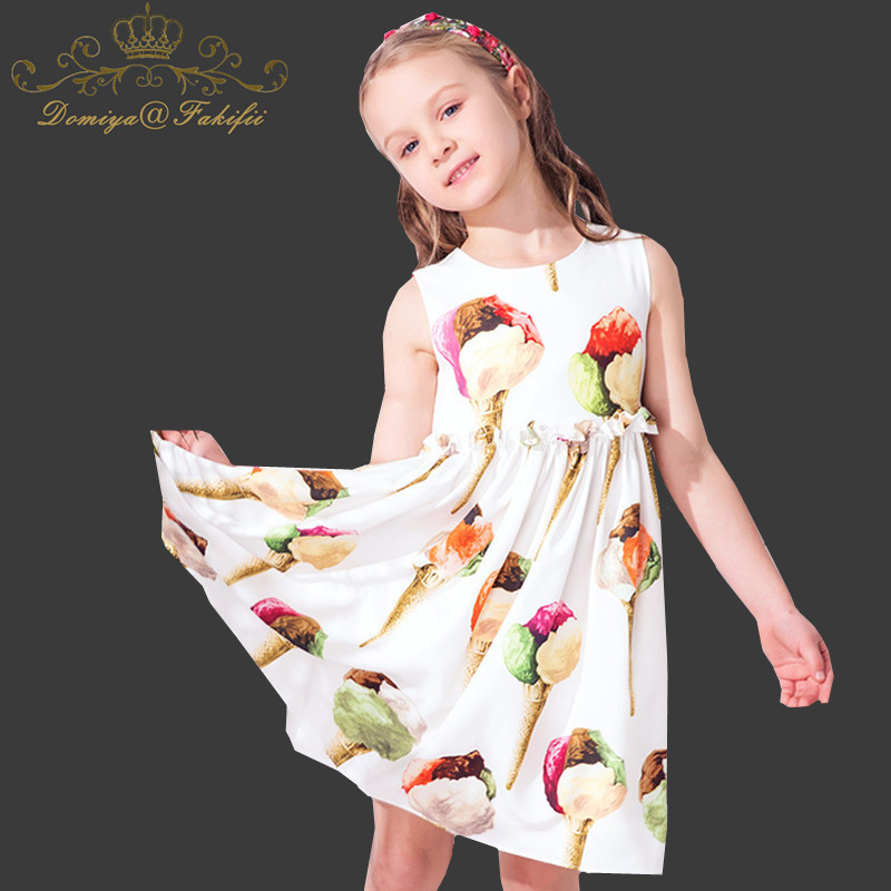 Domiya&Fakifii Girls dresses 2018 New spring&autumn casual style Ice Cream Print princess party dress for children clothes ice cream print zip up back dress