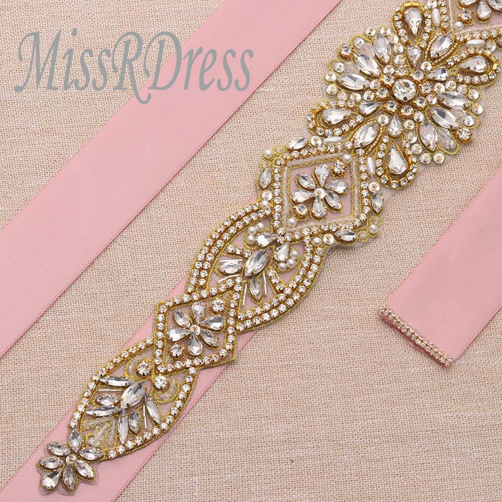 ୧ʕ ʔ୨Señorita deslumbrante vestido de novia cinturón oro cristal ...