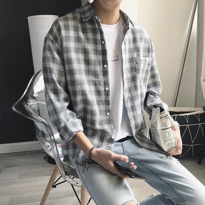 2019 New Cotton Korean Style Clothe Fashion Streetwear Spring Summer Autumn Thin Oversize Plaid Men Shirt Long Sleeve Рубашка