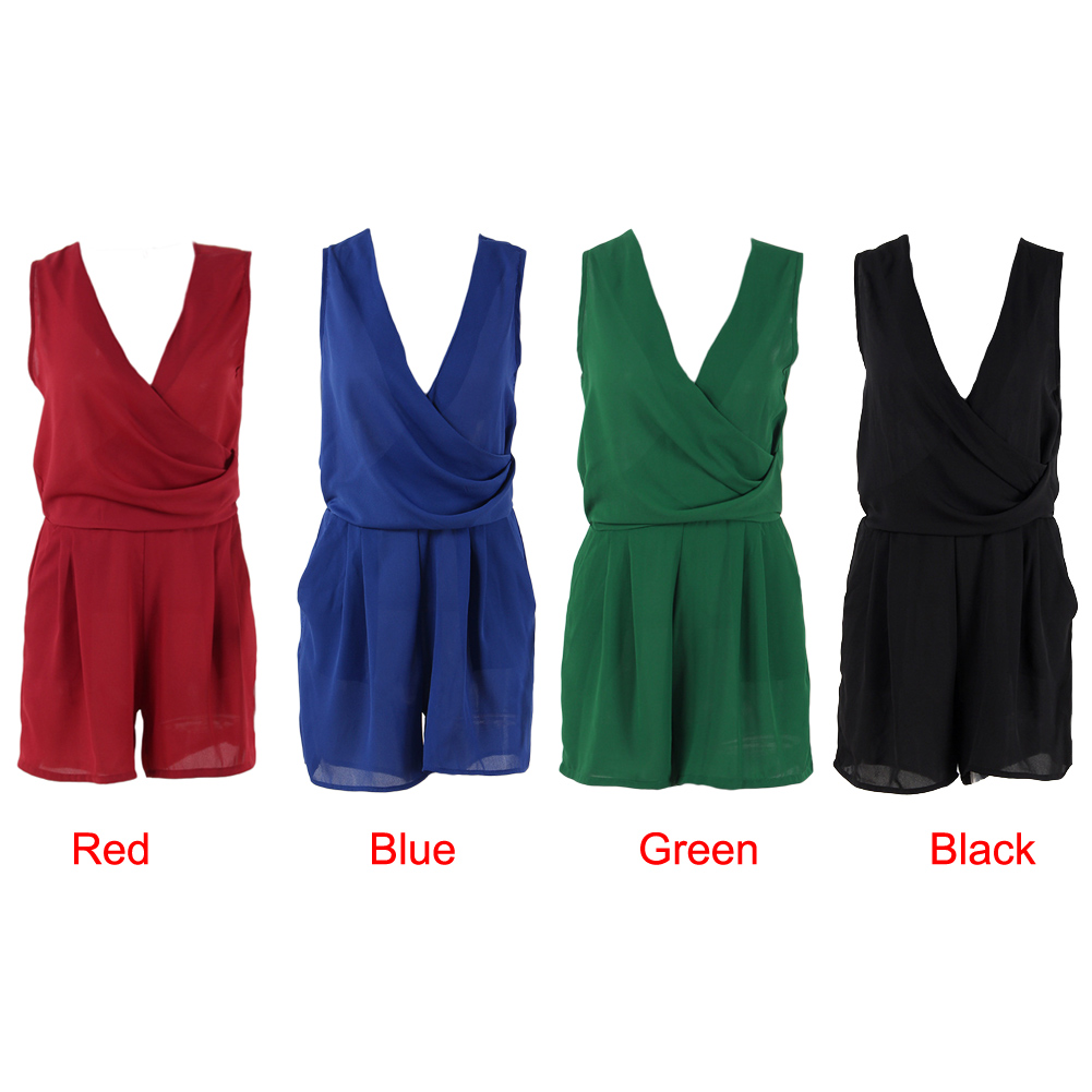 2017 Summer Casual Women Chiffon Jumpsuit Sexy Sleeveless Shorts Solid Deep V Neck Overalls Rompers Playsuit Beachwear