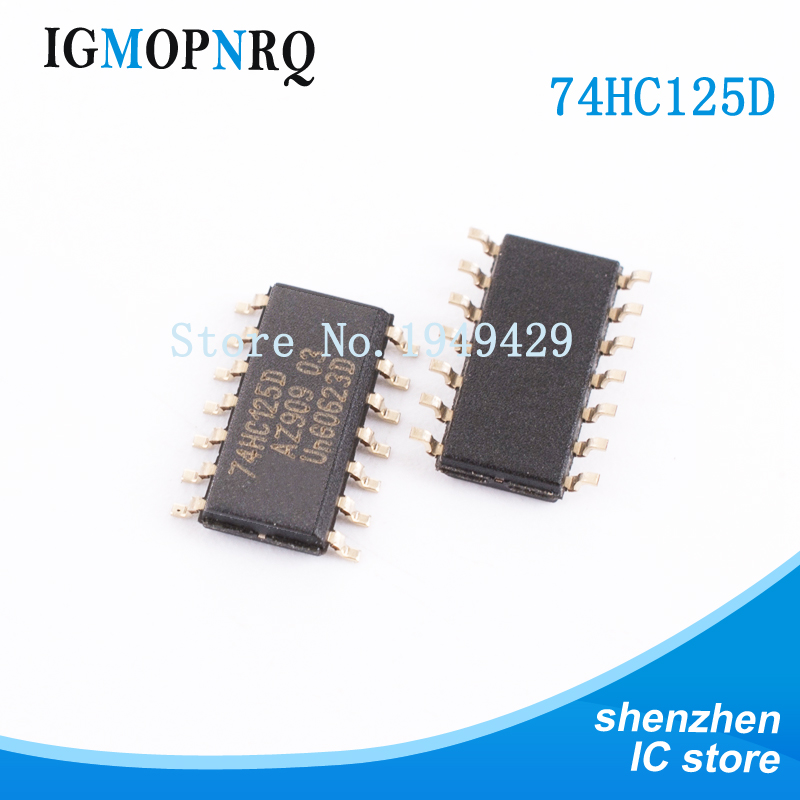 10PCS 74HC125D SOP14 <font><b>74HC125</b></font> SN74HC125DR SN74HC125 Buffer and line driver Quad Bus New original free shipping image