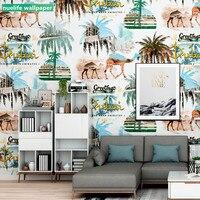 Thai Camel Desert Thailand Rainforest Street Pattern kids room Wallpaper Bedroom TV Background Wall Decoration Wallpaper