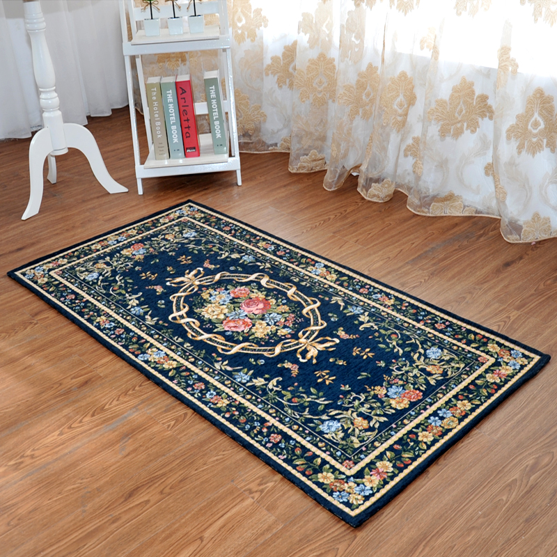 Fashion Carpet Bed Aside Mat Stair Strode Pad Blue Rustic Entranceway Mats Persian Anti-slip Floor Carpet Flower Decor Fabric