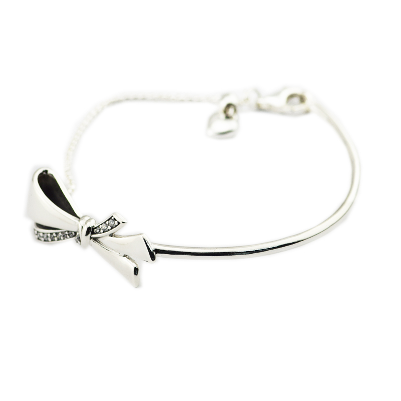 Real 925 Sterling Silver Bracelets and Bangles Brilliant Bow Bracelet, Clear CZ Fine Jewelry for Women DIY Charms Jewelry FLB057Real 925 Sterling Silver Bracelets and Bangles Brilliant Bow Bracelet, Clear CZ Fine Jewelry for Women DIY Charms Jewelry FLB057