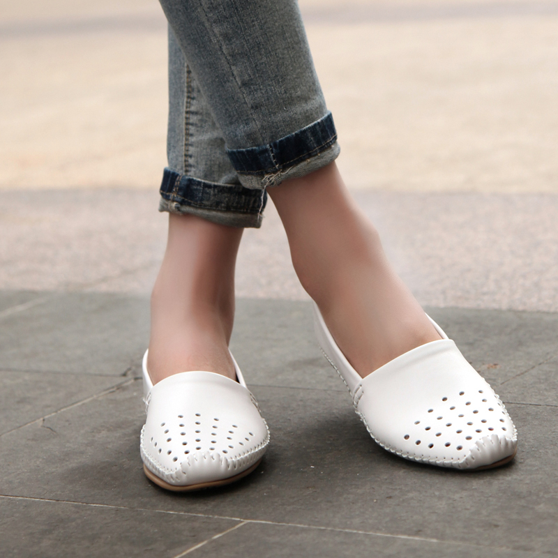 78e6514703b 2016 spring Women genuine leather flat shoes soft leather Loafers shoes  women cutout flats Shoes Slip on ballet flats 2022-in Women s Flats from  Shoes on ...