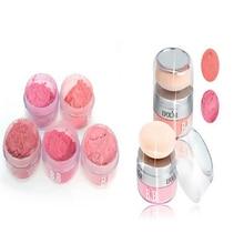 Mujeres Niñas 3D Pure Mineral Cheek Blush Colorete Polvo Cosmético Con Esponja Portátil 2 en 1 Maquillaje WD3